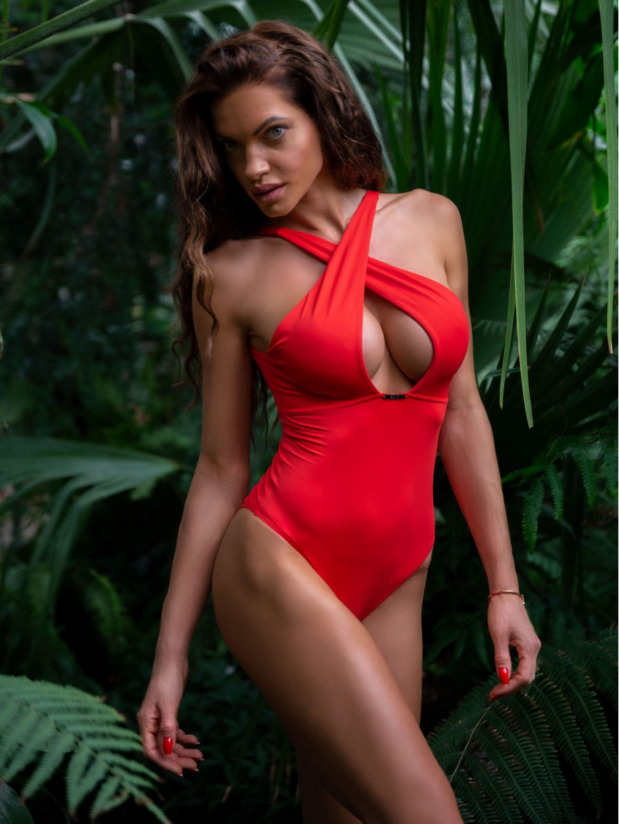 One piece swimming suit with a sexy...